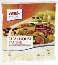 Aus Gründen des vorbeugenden Verbraucherschutzes ruft die Firma Ardo den Artikel real,- Quality Steakhousepfanne, tiefgekühlt, 500 g zurück.