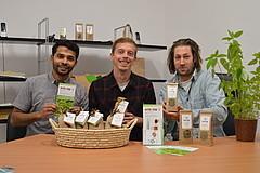 Team des Hohenheimer Startups Intertrop: Mizanur Rahman, Julian Kofler und Julian Börner.
