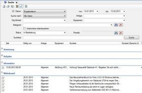 Suchfunktion zur  Recherche nach Informationen und zur Erstellung von Auswertungen und Berichten mit Exportfunktion als PDF-Datei oder Excel-Tabelle