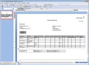 Create custom reports (tracking sheets, certificates, bills) by using the integrated word processor. Via barcode scanning follow-up actions can be executed or detailed information can be accessed.