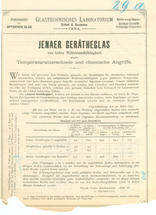 Market introduction: the first leaflet on laboratory glassware made from borosilicate glass was published by Schott in 1893